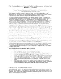 How To Write A Formal Lab Report For Chemistry The Chemistry Lab Notebook And Formal Reports