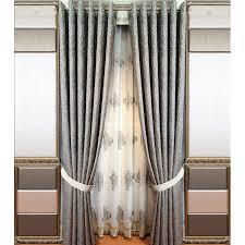 Patio Door Curtain Gray Botanical Embroidery Linen Patio Door Curtains