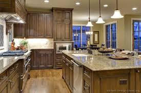 traditional dark wood walnut kitchen