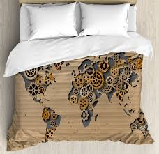 modern duvet cover set ancient old hipster contemporary image of world map with clock wheel art print decorative bedding set with pillow shams