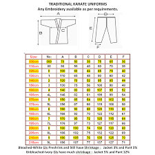 Karate Belt Size Chart Karate Uniforms