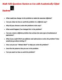 math talk question starters for academically gifted students by barbara yenner