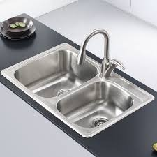 stainless steel drop in sink. Wonderful Stainless Kraus Stainless Steel 33 In Drop Sink A