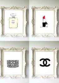 chanel home decor. chanel *5 gold vintage poster wall art print fashion perfume classic home decor