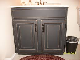 Distressed Bathroom Cabinet Finished Bathroom Vanity Cabinet With Black Chalkboard Paint Then