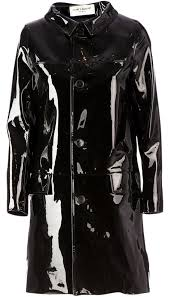 saint lau women black pointed flat collar in leather raincoat 14340262 qjuxoru