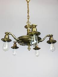 Art Nouveau Bare Bulb Light Fixture 5 Light