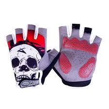 skull print non slip breathable warm half finger weightlifting gloves for woman men fitness dumbbell
