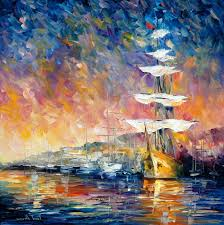 est way to ship paintings sailboats in sunrise palette knife oil painting on canvas