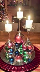 Upside down wine glass centerpiece for Christmas wedding