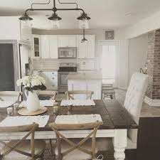 rustic modern farmhouse with farmhouse table with a wood top and white cabinets kitchen ideas rustic modern farmhouse table and modern