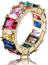 Top WHY 18K Gold Plated <b>Rainbow</b> Square <b>Baguette Cubic</b> ...