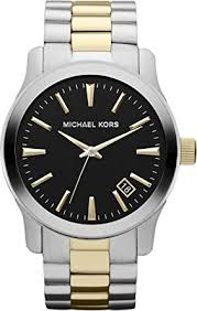 amazon com michael kors men s silver and gold stainless steel michael kors men s silver and gold stainless steel runway mk7064