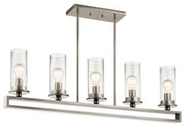 kayde 5 light linear chandelier classic pewter clear seeded glass
