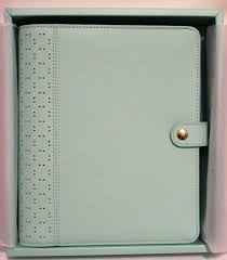 kikki k mint blue a5 large perforated leather day planner organizer 6 ring