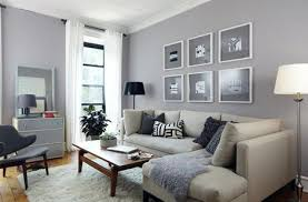 Gray living room with cream couch
