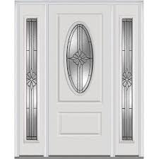 mmi door oval lite decorative glass right hand inswing primed fiberglass prehung entry door with