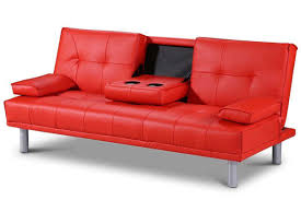 modern leather sofa bed. Fine Leather Manhattan Modern Red Faux Leather Sofa Bed  Intended