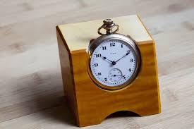 pocket watch desk clock with wooden holder stand