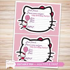 Hello Kitty Invitation Hello Kitty Invitations Diy Editable Pdf