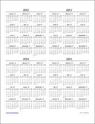 Year To Year Calendar Multi Year Calendars 2 And 3 Year Calendar Templates