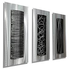 >eye catching charming and funky geometric wall decor  contemporary black silver abstract metal wall art accent modern home decor set of three