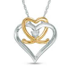 zales diamond accent beaded heart with intertwined infinity pendant in sterling silver and 18k gold plate