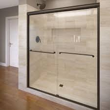 semi frameless sliding shower door in oil rubbed bronze with clear glass a0583 48clor the home depot