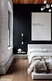 industrial style bedroom with black wall