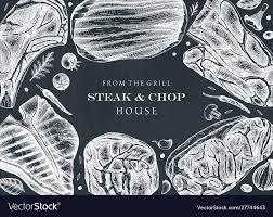 Steak Menu Design Raw Beef Steaks Menu Template Meat Top View Frame