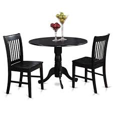 3pc dinette dublin drop leaf kitchen pedestal table 2 wood seat chairs black 691038891397