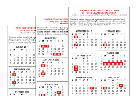 Pages School Year Calendar 2019 2020