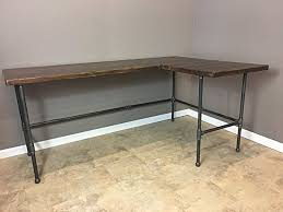 Amazon Modern Industry L Shape Reclaimed Wood Desk w