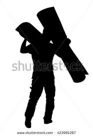 carpet roll vector. man carrying rolled carpet by moving vector silhouette illustration isolated on white background. roll