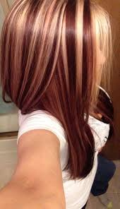 Dark Red Hair Color With Blonde Highlights