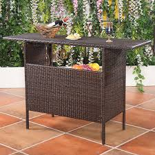 garden patio furniture. Free Shipping Outdoor Rattan Wicker Bar Counter Table Shelves Garden Patio Furniture Brown NEW