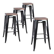 LCH 30 Inch Metal Industrial Bar Stools, Set of 4 Indoor/Outdoor Counter  Stackable