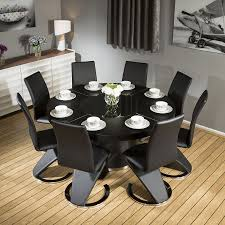 modern large round black oak dining table 8 black z shape komoro white high gloss dining table with 6 perth grey chairs