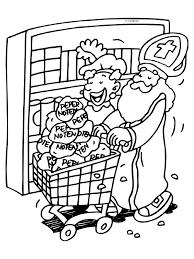 Kleurplaat Sint En Piet In De Winkel Kleurplatennl