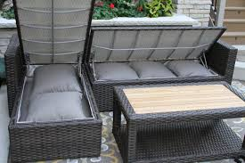 teak brown wicker sectional sofa set with waterproof storage within outdoor cushion patio chair white seat