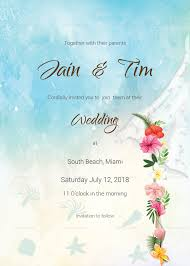 Beach Invitation Beach Wedding Invitation Card Template