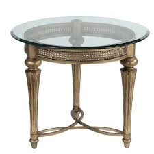 galloway glass top round end table in subtle gold