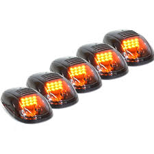 Led Cab Lights 5x Cab Lights Smoked Amber Running Marker Parking Roof Top Led High Intensity Clearance Lights For Ford Truck Suv Pickup 4x4 Black Smoked Lens Lamps