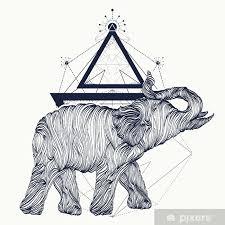 Fototapeta Vinylová Slon Tetování čáry Umění Dotwork Skica