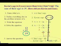 beginning algebra word problem steps