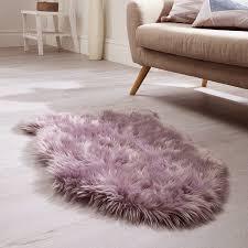 sheepskin rugs faux fur mauve