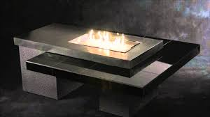 great rectangular natural gas fire pit table in a modern style of