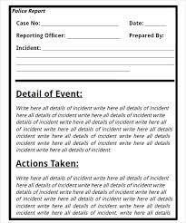 Police Incident Report Form Template Police Incident Report Form