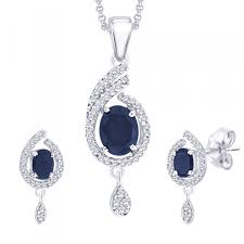stunning pendant set with blue stone pfds884b