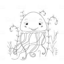 こどもの漫画の動物の塗り絵幼児かわいいクラゲの教育課題 お絵かきの